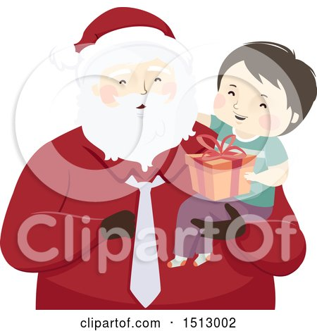 Clipart of a Christmas Santa Claus Holding a Boy with a Gift - Royalty Free Vector Illustration by BNP Design Studio