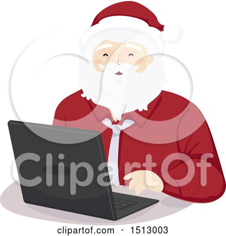 Clipart of a Christmas Santa Claus Using a Laptop - Royalty Free Vector Illustration by BNP Design Studio