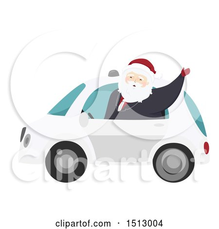 Clipart of a Christmas Santa Claus Waving from a Self Driving Car - Royalty Free Vector Illustration by BNP Design Studio