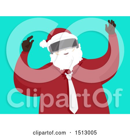 Clipart of a Modern Christmas Santa Claus Wearing Virtual Reality Goggles - Royalty Free Vector Illustration by BNP Design Studio