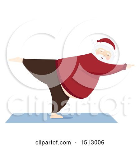 Clipart of a Christmas Santa Claus Doing Yoga - Royalty Free Vector Illustration by BNP Design Studio