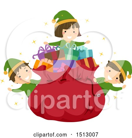 Clipart of a Group of Christmas Elf Kids Around Santas Sack - Royalty Free Vector Illustration by BNP Design Studio
