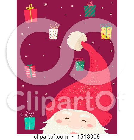 Clipart of a Swedish Tomte Christmas Santa Claus with Gifts - Royalty Free Vector Illustration by BNP Design Studio