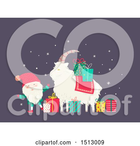 Clipart of a Tomte Christmas Santa Claus with a Yule Goat and Presents - Royalty Free Vector Illustration by BNP Design Studio