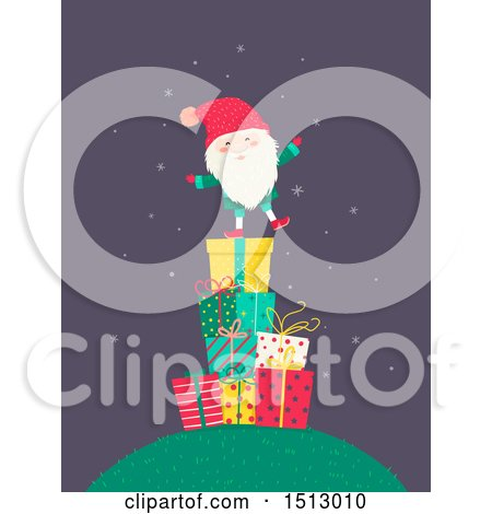 Clipart of a Tomte Christmas Santa Claus on a Stack of Gifts - Royalty Free Vector Illustration by BNP Design Studio