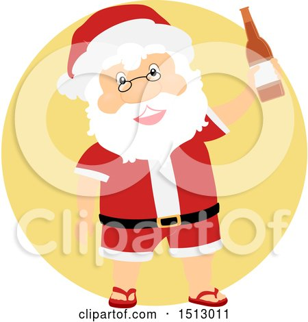 Clipart of a Christmas Santa Claus Holding a Beer Bottle - Royalty Free Vector Illustration by BNP Design Studio
