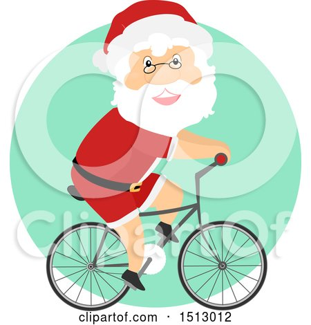 Clipart of a Christmas Santa Claus Riding a Bicycle - Royalty Free Vector Illustration by BNP Design Studio