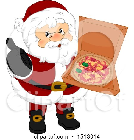 Clipart of a Christmas Santa Claus Holding a Pizza in a Box - Royalty Free Vector Illustration by BNP Design Studio