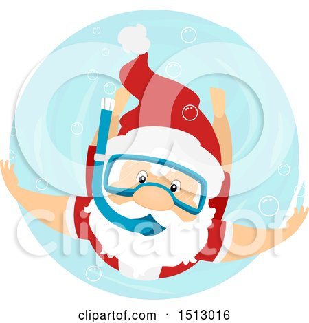 Clipart of a Christmas Santa Claus Snorkeling - Royalty Free Vector Illustration by BNP Design Studio