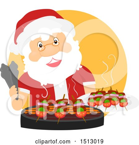 Clipart of a Christmas Santa Claus Grilling on a Bbq - Royalty Free Vector Illustration by BNP Design Studio