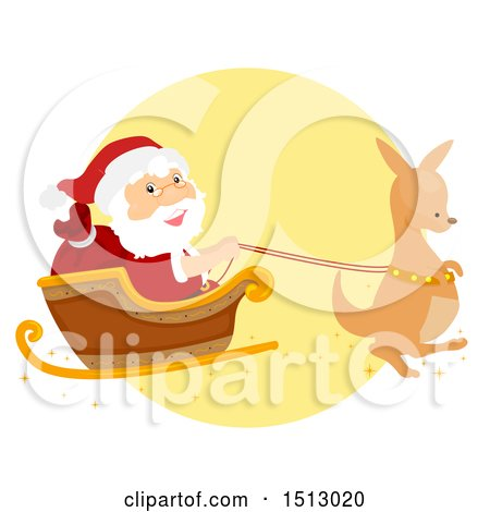 Clipart of a Christmas Kangaroo Pulling Santa Claus in a Sleigh - Royalty Free Vector Illustration by BNP Design Studio