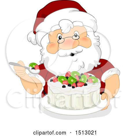 Clipart of a Christmas Santa Claus Eating a Pavlova Dessert - Royalty Free Vector Illustration by BNP Design Studio