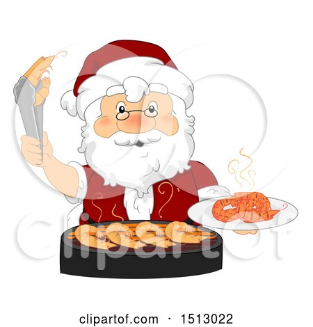 Clipart of a Christmas Santa Claus Grilling Shrimp - Royalty Free Vector Illustration by BNP Design Studio