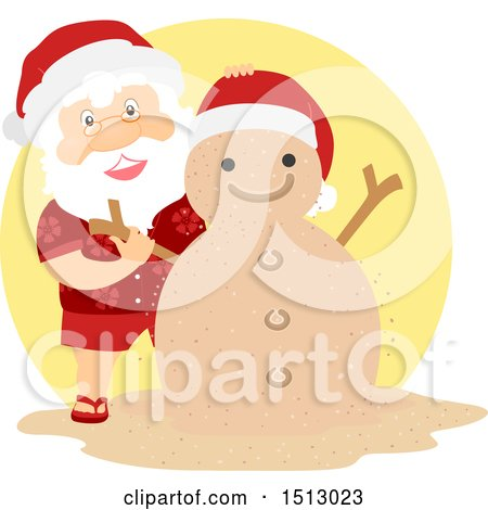 Clipart of a Christmas Santa Claus Making a Sand Snowman - Royalty Free Vector Illustration by BNP Design Studio