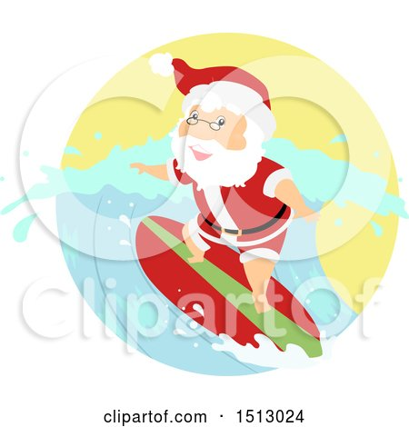 Clipart of a Christmas Santa Claus Surfing - Royalty Free Vector Illustration by BNP Design Studio