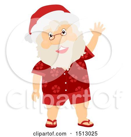 Clipart of a Christmas Santa Claus Wearing a Hawaiian Shirt and Waving - Royalty Free Vector Illustration by BNP Design Studio