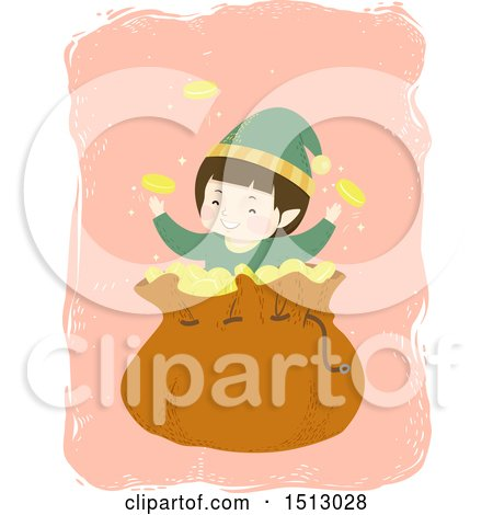 Clipart of a Boy Christmas Elf with a Sack of Gold Coins - Royalty Free Vector Illustration by BNP Design Studio