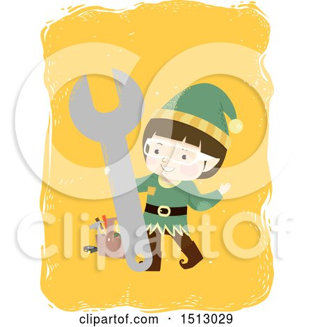 Clipart of a Boy Christmas Elf with a Wrench and Tool Box - Royalty Free Vector Illustration by BNP Design Studio