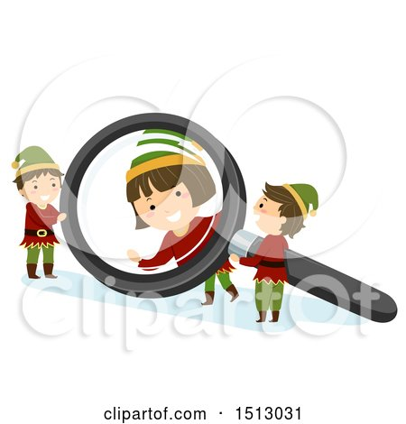 Clipart of a Group of Christmas Elf Kids Playing with a Magnifying Glass - Royalty Free Vector Illustration by BNP Design Studio