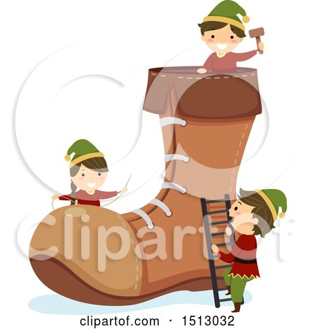 Clipart of a Group of Christmas Elf Kids Building a Boot - Royalty Free Vector Illustration by BNP Design Studio