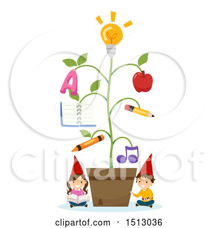 Clipart of a Group of Gnome Kids with an Educational Plant - Royalty Free Vector Illustration by BNP Design Studio