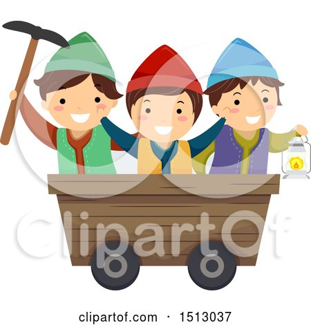 Clipart of a Group of Gnome Kids in a Mining Cart - Royalty Free Vector Illustration by BNP Design Studio