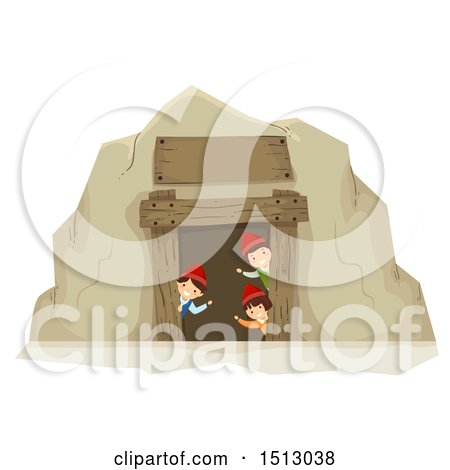 Clipart of a Group of Gnome Kids Waving from a Mining Cave - Royalty Free Vector Illustration by BNP Design Studio