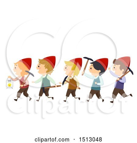 Clipart of a Group of Dwarf Kids with Mining Tools - Royalty Free Vector Illustration by BNP Design Studio