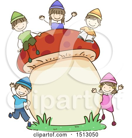 Clipart of a Sketched Group of Kid Dwarfs with a Giant Mushroom - Royalty Free Vector Illustration by BNP Design Studio
