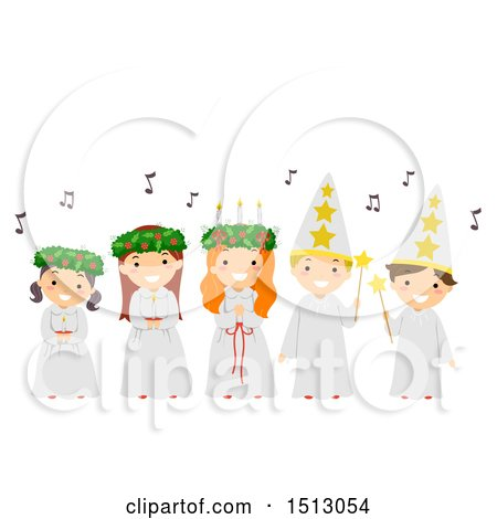 Clipart of a Group of Children Singing Carols During the Feast Day of Saint Lucy - Royalty Free Vector Illustration by BNP Design Studio