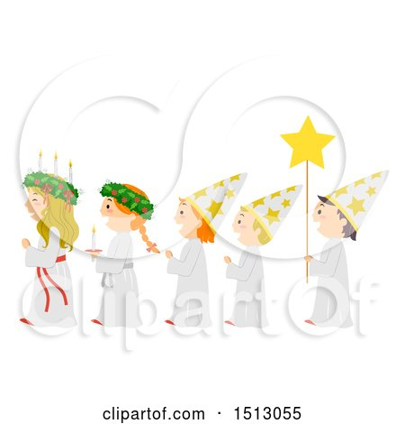 Clipart of a Line of Children in a a Saint Lucia Parade - Royalty Free Vector Illustration by BNP Design Studio