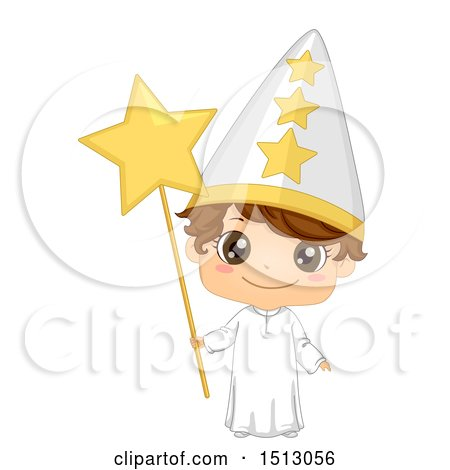 Clipart of a Swedish Boy in a St Lucias Day Star Costume - Royalty Free Vector Illustration by BNP Design Studio