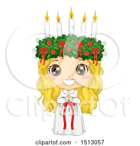 Clipart of a Girl in a Ltttle Lucia Costume - Royalty Free Vector Illustration by BNP Design Studio