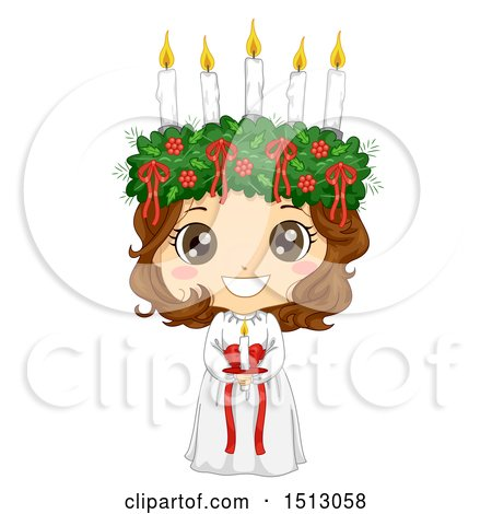 Clipart of a Girl Holding a Candle in a Ltttle Lucia Costume - Royalty Free Vector Illustration by BNP Design Studio