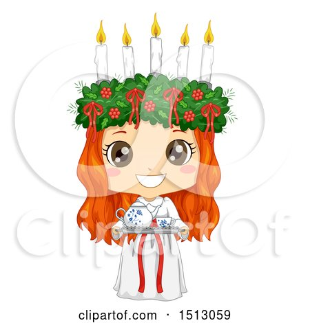 Clipart of a Girl Holding a Coffee Tray and Wearing a Ltttle Lucia Costume - Royalty Free Vector Illustration by BNP Design Studio
