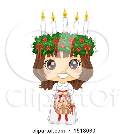 Clipart of a Girl Holding a Basket of Saffron Buns and Wearing a Ltttle Lucia Costume - Royalty Free Vector Illustration by BNP Design Studio