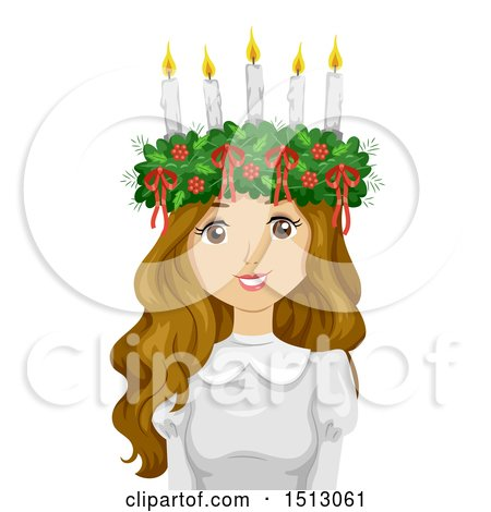 Clipart of a Teenage Wearing a Saint Lucia Crown - Royalty Free Vector Illustration by BNP Design Studio