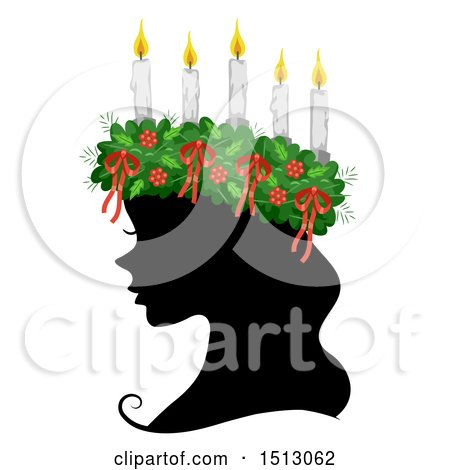 Clipart of a Profiled Silhouetted Woman Wearing a Saint Lucia Crown - Royalty Free Vector Illustration by BNP Design Studio