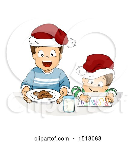 Clipart of Little Boys Preparing Cookies and a Letter for a Christmas Santa Snack - Royalty Free Vector Illustration by BNP Design Studio