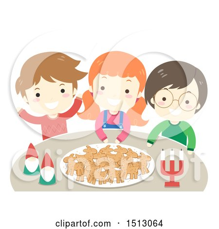 Clipart of a Group of Children with Yule Goat Shaped Gingerbread Cookies on a Plate and a Couple of Nisse - Royalty Free Vector Illustration by BNP Design Studio