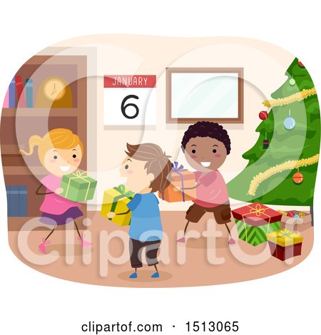 Clipart of a Group of Children Giving Gifts on Kings Day - Royalty Free Vector Illustration by BNP Design Studio