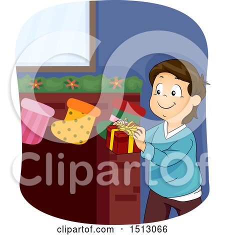Clipart of a Happy Boy Putting a Gift in a Christmas Stocking - Royalty Free Vector Illustration by BNP Design Studio