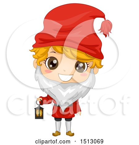 Clipart of a Swedish Boy in a Christmas Tomte Costume - Royalty Free Vector Illustration by BNP Design Studio