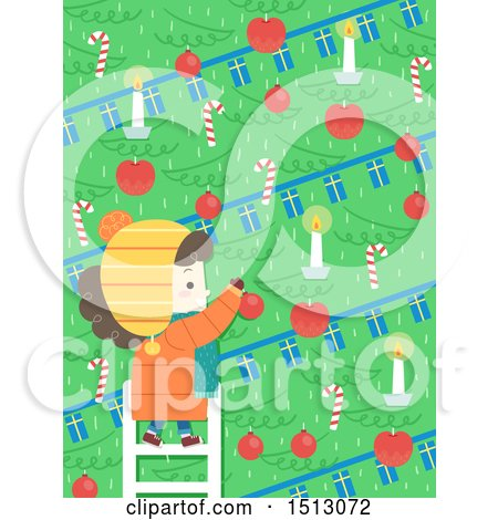 Clipart of a Girl Decorating a Scandinavian Christmas Tree with Candles, Baubles, and Candy Canes - Royalty Free Vector Illustration by BNP Design Studio