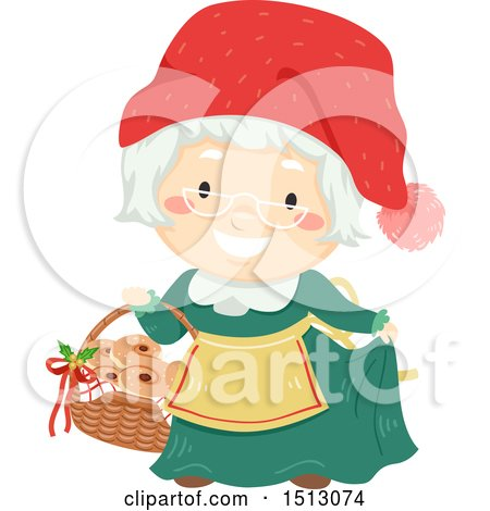 Clipart of Mrs Claus Holding a Basket of Saffron Buns - Royalty Free Vector Illustration by BNP Design Studio