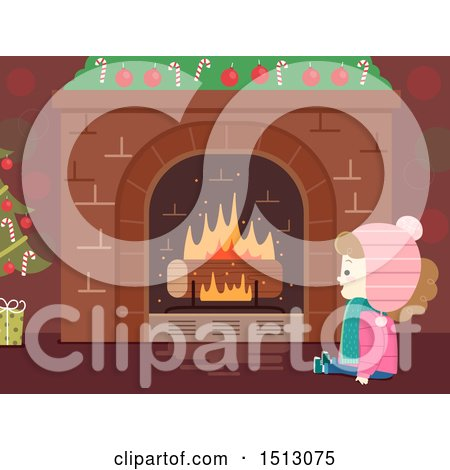 Clipart of a Happy Girl Sitting in Front of a Christmas Fireplace with a Log Log - Royalty Free Vector Illustration by BNP Design Studio