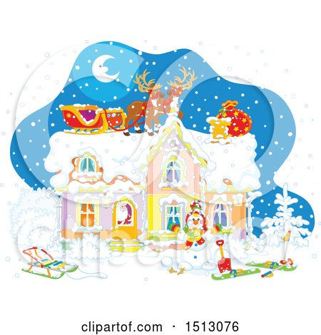 Clipart of a Snowy Christmas Eve Night with Santa in a Home and Reindeer and a Sleigh on the Roof - Royalty Free Vector Illustration by Alex Bannykh