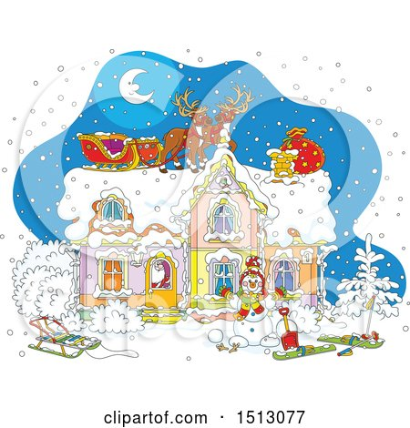 Clipart of a Snowy Christmas Eve Night with Santa Claus in a Home and Reindeer and a Sleigh on the Roof - Royalty Free Vector Illustration by Alex Bannykh