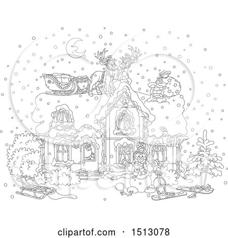 Clipart of a Black and White Snowy Christmas Eve Night with Santa in a Home and Reindeer and a Sleigh on the Roof - Royalty Free Vector Illustration by Alex Bannykh
