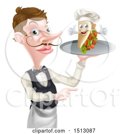 Clipart of a Cartoon Caucasian Male Waiter Pointing and Holding a Kebab Sandwich on a Tray - Royalty Free Vector Illustration by AtStockIllustration